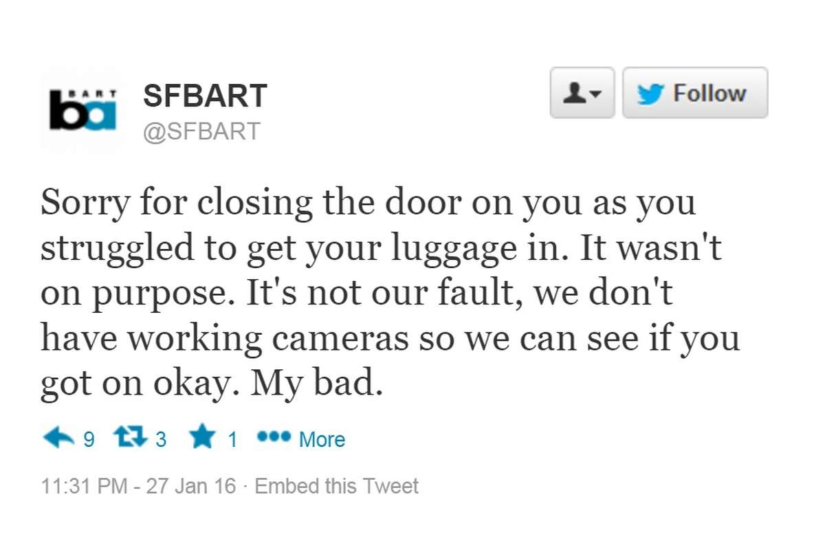 BART might theoretically apologize for these mistakes. Maybe. (SFGATE photo illustration)