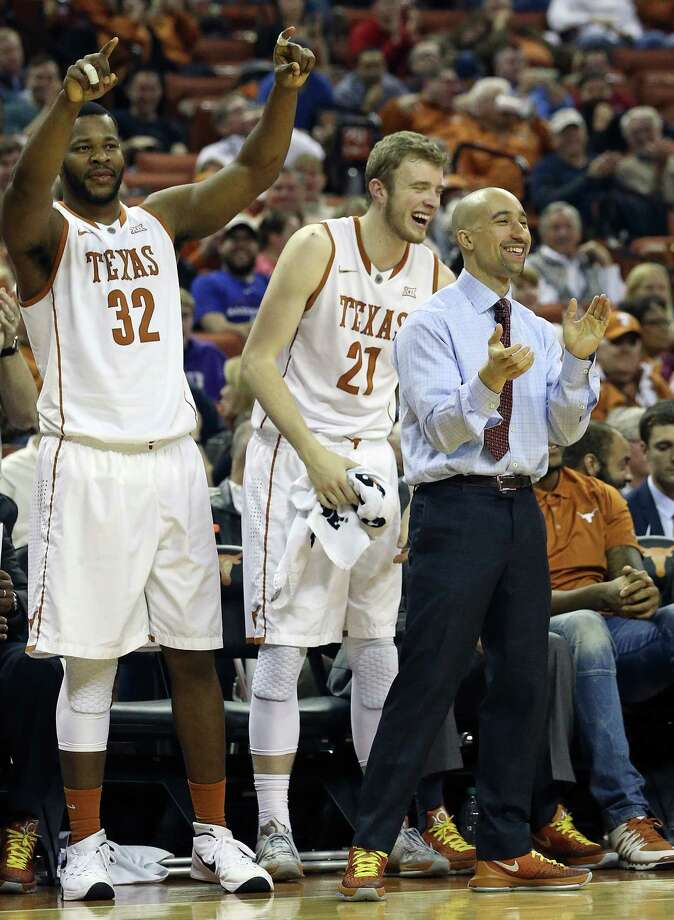 CoachShaka Smart celebrates two made free throws by Prince Ibeh in the second half as Texas hosts TCU at the Erwin Center in Austin on January 26, 2016. Photo: TOM REEL, STAFF / SAN ANTONIO EXPRESS-NEWS / 2016 SAN ANTONIO EXPRESS-NEWS