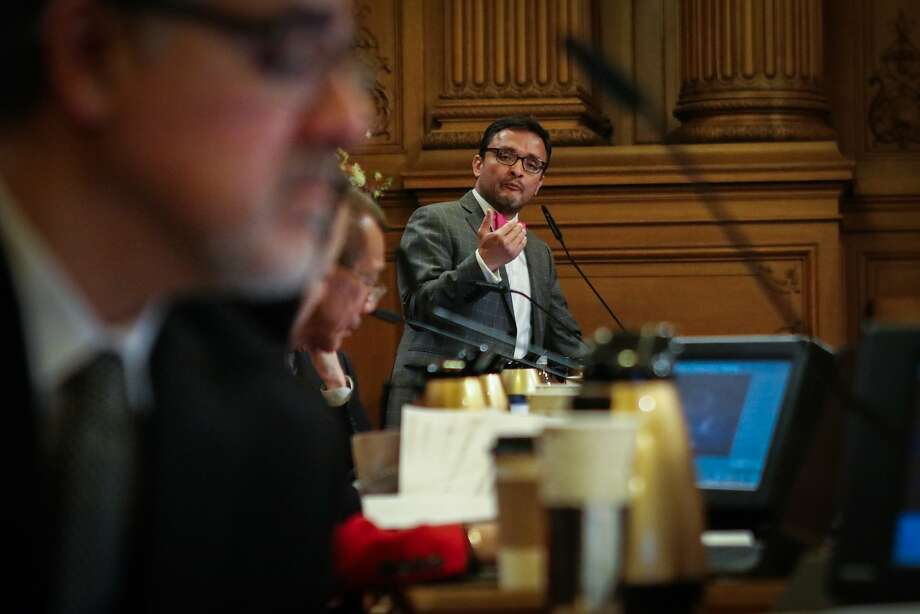 Supervisor David Campos discussed his ideas for creating a remembrance day for Mario Woods, who was killed by S.F. Police late last year, during a Board of Supervisors meeting, at City Hall, in San Francisco, on January 26, 2015. Photo: Gabrielle Lurie, Special To The Chronicle
