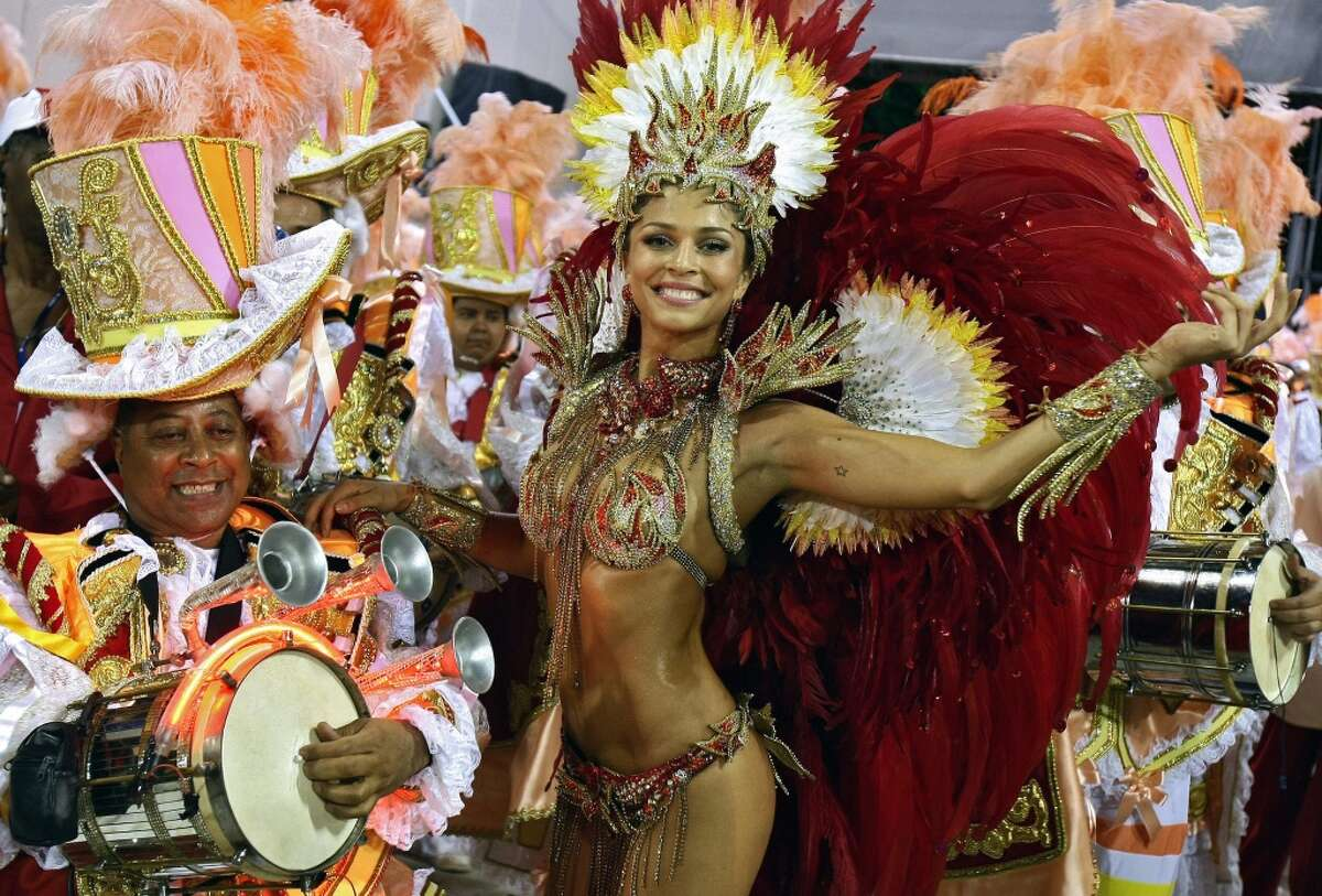 Participants perform during carnival celebrations in Rio de Janeiro, Brazil.