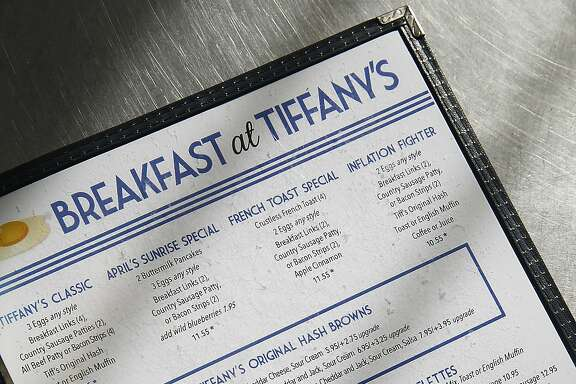 The menu seen at Breakfast at Tiffany's in San Francisco, California, on Tuesday,  January 25, 2016.
