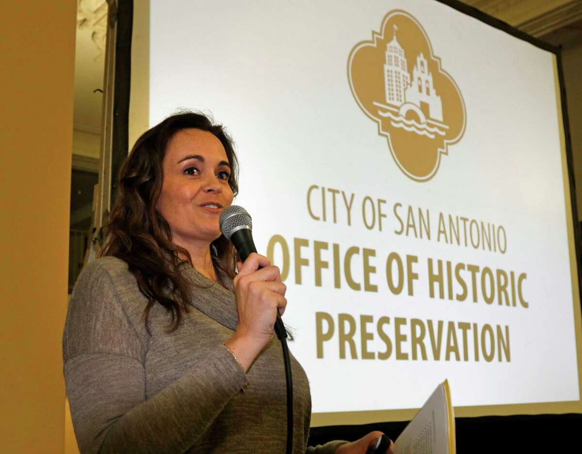 Shannon Miller, director of ,Office of Historic Preservation address guest. SApreservation Launch Party held by the city's Office of Historic Preservation to announce three city preservation initiatives on Monday, January 26 2015.