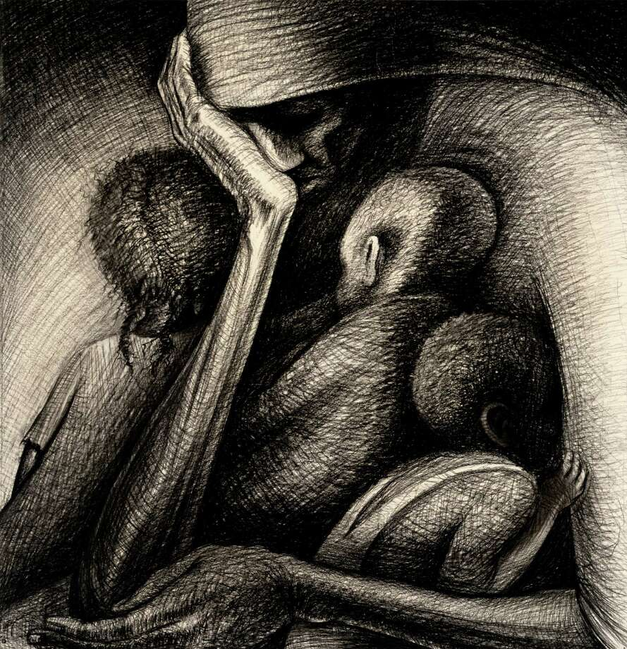 """John Biggers' legendary 1950 drawing """"The Cradle"""" is on view through April 24 in """"Statements: African American Art from the Museum Collection"""" at the Museum of Fine Arts, Houston. Photo: Museum Of Fine Arts, Houston, Photographer / Photograph © The Museum of Fine Arts, Houston"""