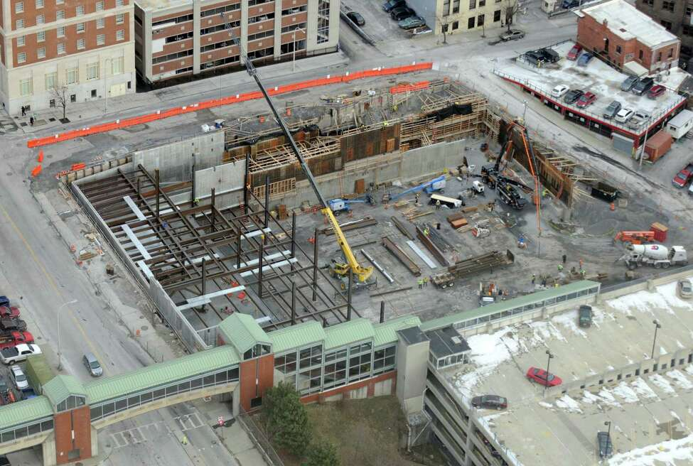 Work on the Albany Convention Center on Thursday Jan. 14, 2016 in Albany, N.Y. (Michael P. Farrell/Times Union)