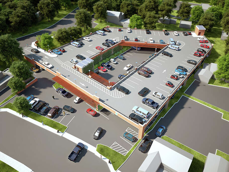 An aerial imagining of the tiered parking facility on Locust Avenue in New Canaan that was proposed last spring. Photo: Contributed Photo / Contributed Photo / New Canaan News