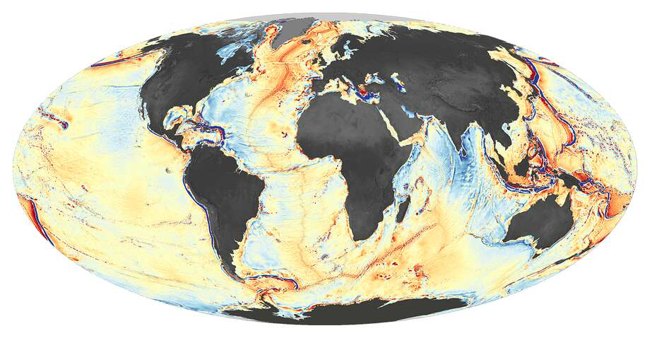 NASA caption: This map shows a global view of gravity anomalies ... Shades of orange and red represent areas where seafloor gravity is stronger (in milligals) than the global average, a phenomenon that mostly coincides with the location of underwater ridges, seamounts, and the edges of Earth's tectonic plates. Shades of blue represent areas of lower gravity, corresponding largely with the deepest troughs in the ocean.