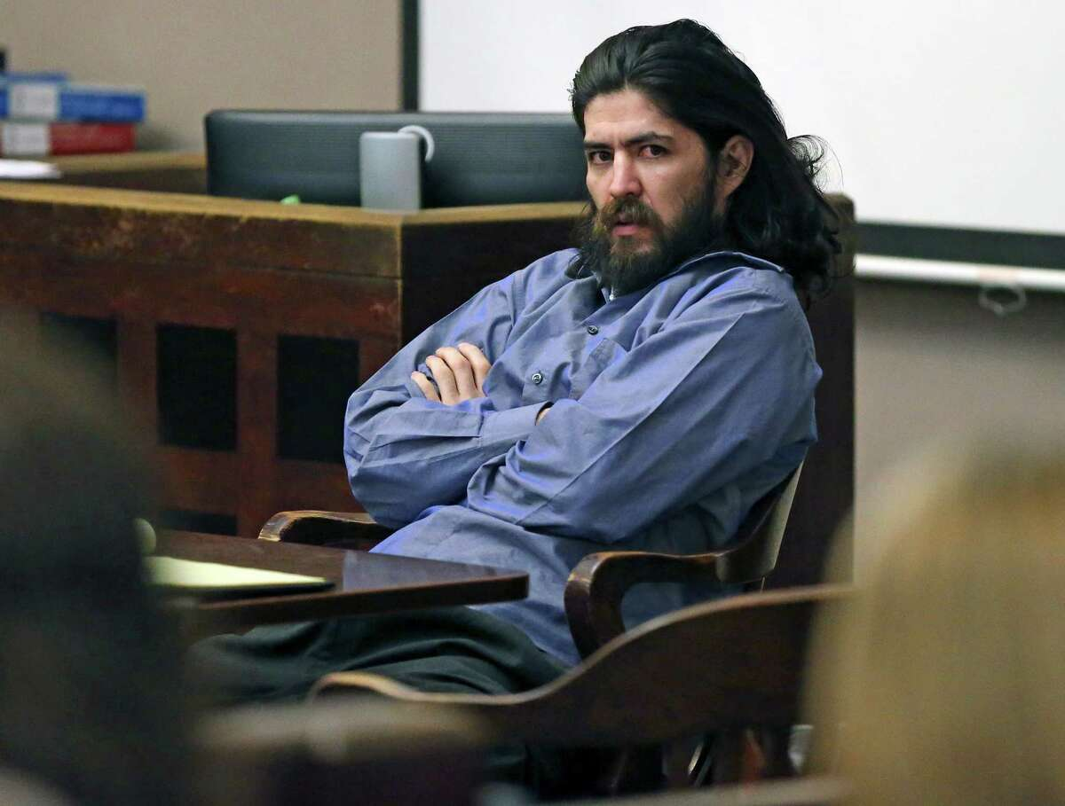 The defendant spends time staring around the courtroom at trial spectators during the murder trial of Christian Ivan Bautista in 186th State District Court of judge Jefferson Moore on January 27, 2016.