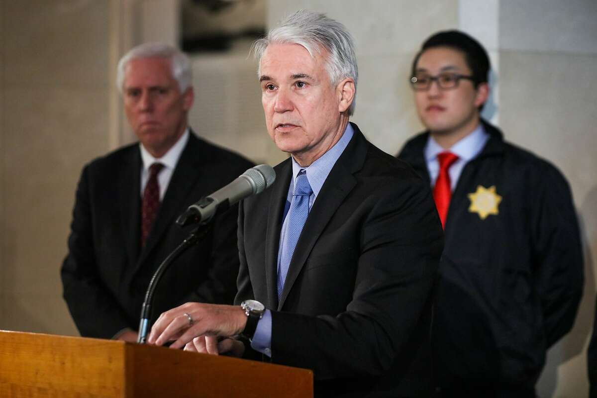 San Francisco District Attorney George Gascon discusses human trafficking at a press conference at SFO's Aviation Museum in San Francisco, California on Wednesday, January 27, 2016.