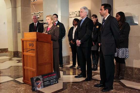 Alameda's District Attorney Nancy O'Malley discusses improved housing options for those affected by  human trafficking, at a press conference at SFO's Aviation Museum in San Francisco, California on Wednesday, January 27, 2016.