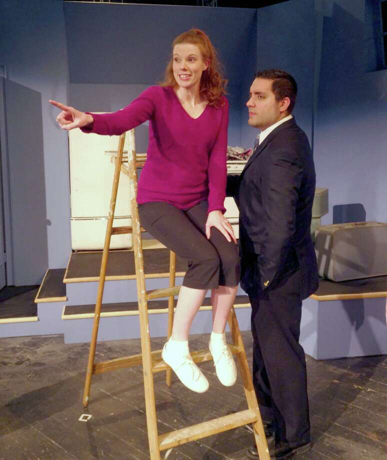 """Paul (Robert Rosado) and Corie Bratter (Sarah Sherwood) are newlyweds in Curtain Call's production of """"Barefoot in the Park."""" It opens Friday, Jan. 29. Photo: Contributed Photo"""