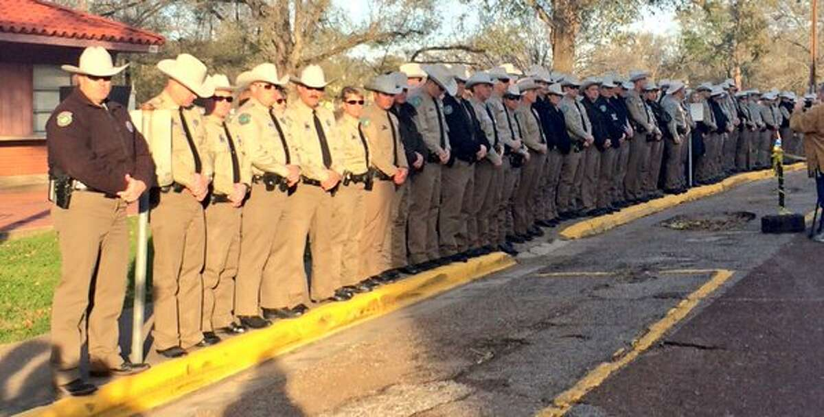 Dozens of game wardens and retired game wardens gathered outside the prison awaiting the execution of James Garrett Freeman.