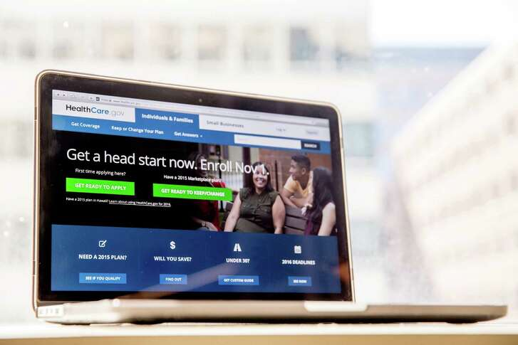 FILE - In this Oct. 6, 2015 file photo, the HealthCare.gov website, where people can buy health insurance, is displayed on a laptop screen in Washington.  (AP Photo/Andrew Harnik, File)