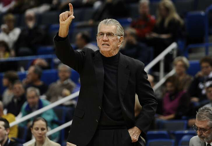 Oregon head coach Paul Westhead gestures to his team during the first half of an NCAA college basketball game against Connecticut, Wednesday, Nov. 20, 2013, in Hartford, Conn. (AP Photo/Jessica Hill)