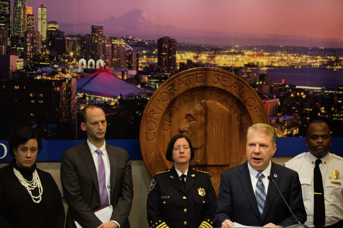 Mayor Ed Murray speaks at a press conference about last night's shooting at a homeless encampment and the ongoing homeless issue in Seattle, at Seattle City Hall on Wednesday, Jan. 27, 2016. Human Services director Catherine Lester, Department of Transportation director Scott Kubly, Police Chief Kathleen O'Toole, and Fire Chief Harold Scoggins were on hand to speak and answer questions as well.