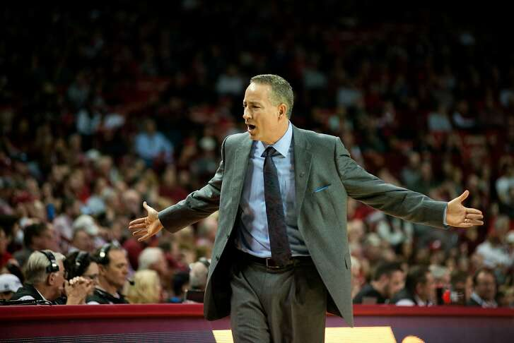 Texas A&M head coach Billy Kennedy expresses frustration with a call in the first half of an NCAA college basketball game against Arkansas in Fayetteville, Ark., Wednesday, Jan. 27, 2016.(AP Photo/Sarah Bentham)