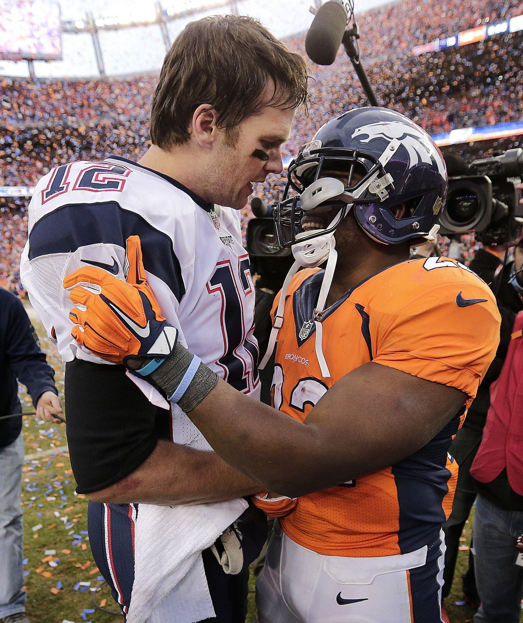 Patriots' Tom Brady and Broncos' C.J. Anderson share a moment - SFGate