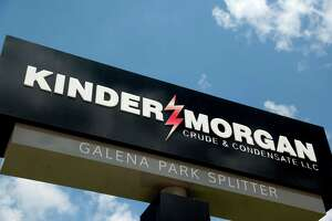 Kinder Morgan displays its logo at a facility in Galena Park. The Houston pipeline company said Friday it will fight to keep its investment grade credit rating. (Houston Chronicle photo)