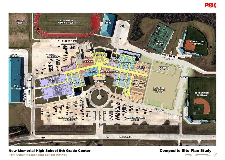 The site plan for the new Memorial 9th Grade Academy, a 113,000 square foot $26 million building planned to be built alongside Memorial High School on Sgt. Lucian Adams Drive.