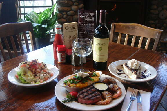 Gristmill River Restaurant & Bar is featuring a New York strip steak with bacon-wrapped stuffed Texas Gulf jumbo shrimp, loaded mashed potatoes and an iceberg lettuce salad.