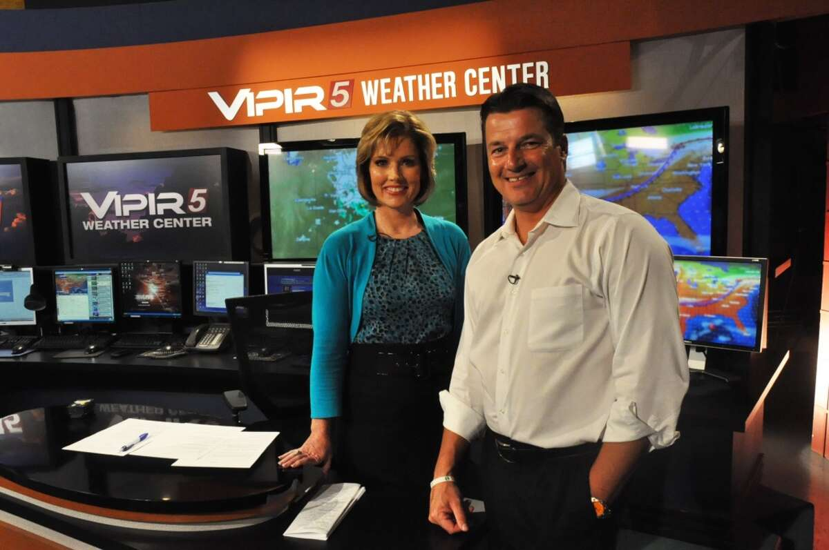KENS-TV's chief weather anchor Bill Taylor (here with anchor Deborah Knapp) may seem strong and unflappable on the air. . .