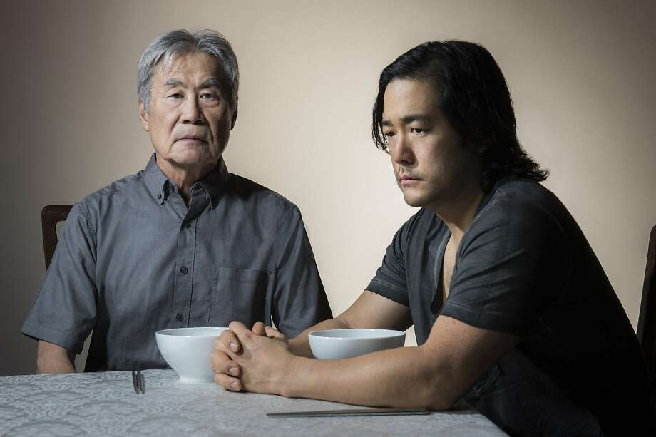 "Sab Shimono (left) and Tim Kang play a father and son trying to come to terms with their relationship in ""Aubergine"" at the Berkeley Repertory Theatre. Photo: Kevinberne.com"