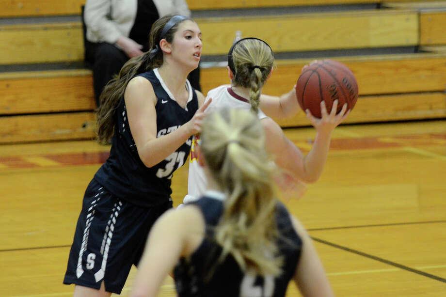 St. Joseph High School hosts Staples High School in varsity girls basketball in Trumbull CT on Thurs. Jan. 21, 2016. Photo: Shelley Cryan / For Hearst Connecticut Media / Connecticut Post Freelance