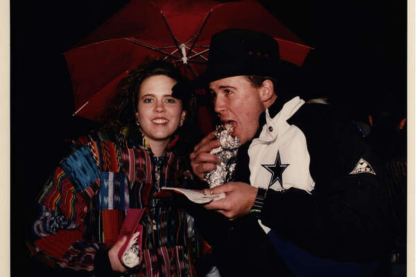 Angie Justis and Lance Asher enjoy tacos at the Cowboy Breakfast on Feb. 5, 1993 at Central Park Mall.