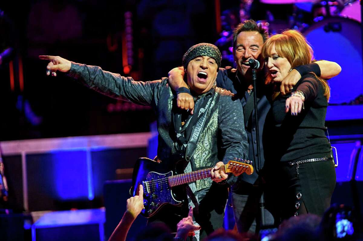 Bruce Springsteen, center, Stevie Van Zandt, left, and Patti Scialfa perform with the E Street Band at Madison Square Garden, Wednesday, Jan. 27, 2016, in New York. (Photo by Robert Altman /Invision/AP) ORG XMIT: NYRA111