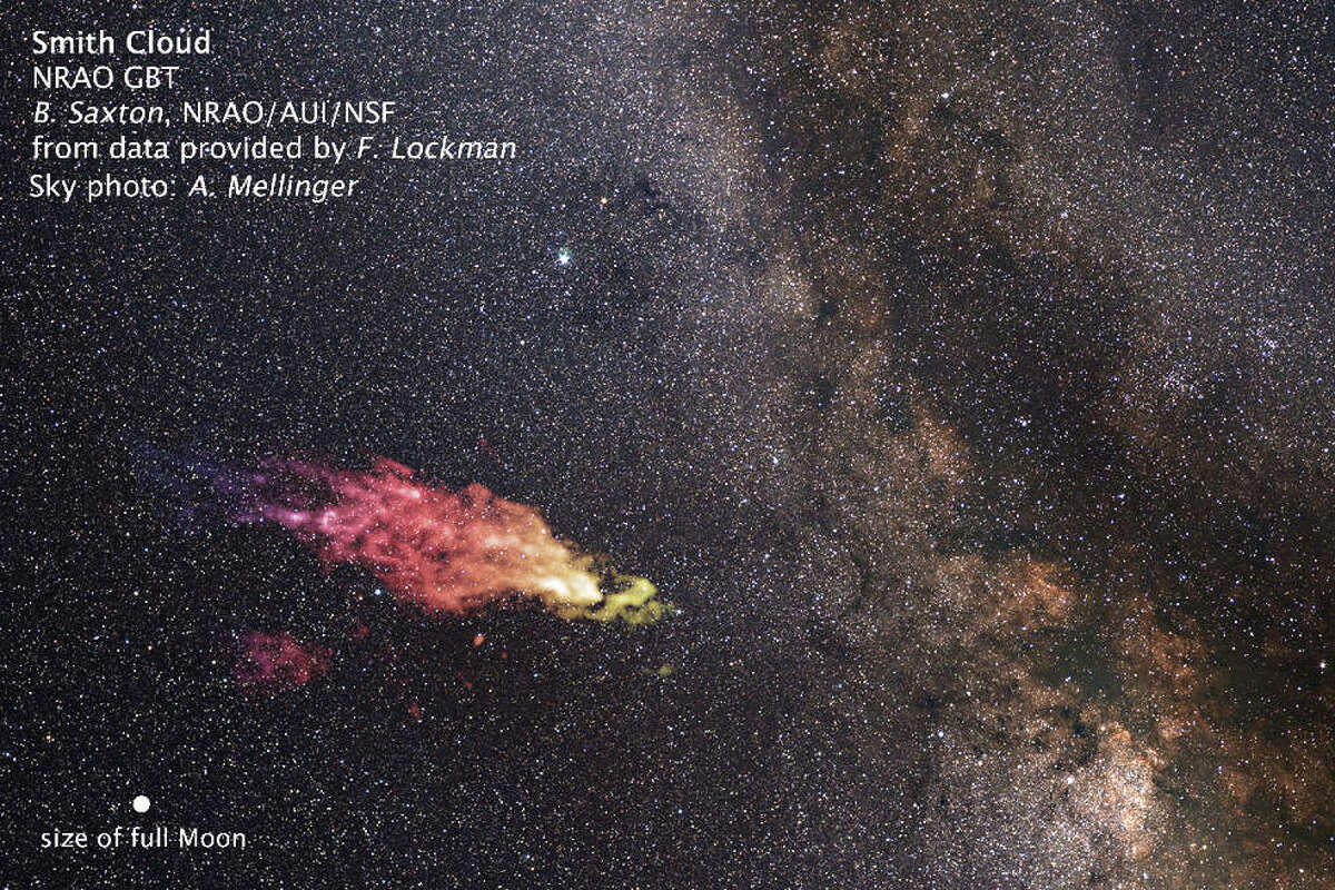 NASA caption: This composite image shows the size and location of the Smith Cloud on the sky. The cloud appears in false-color, radio wavelengths as observed by the Green Bank Telescope in West Virginia. The visible-light image of the background star field shows the cloud's location in the direction of the constellation Aquila. Credits: Saxton/Lockman/NRAO/AUI/NSF/Mellinger