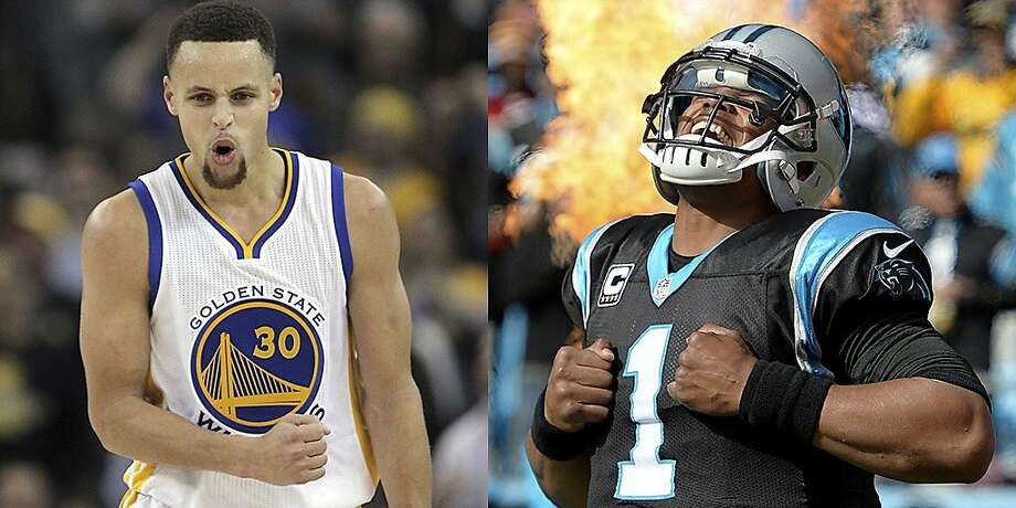 The Warriors' Stephen Curry and the Carolina Panthers' Cam Newton. Photo: Carlos Avila Gonzalez / The Chro, Grant Halverson / Getty Images