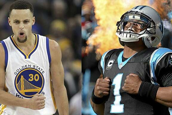 The Warriors' Stephen Curry and the Carolina Panthers' Cam Newton.
