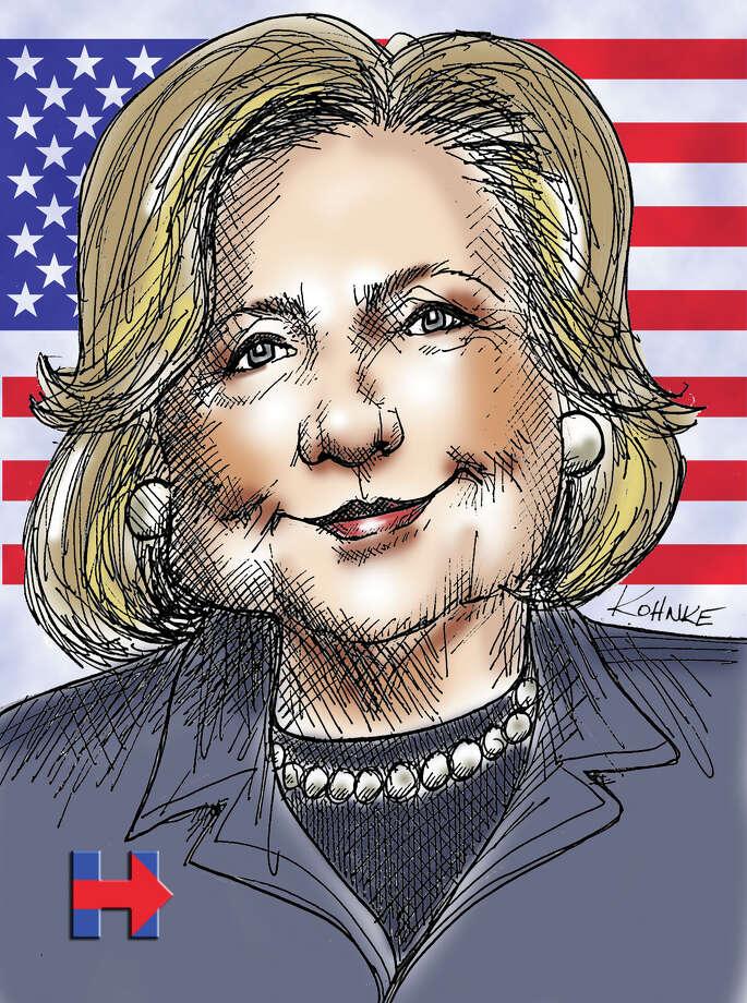 This artwork by Jennifer Kohnke refers to Democrat Hillary Clinton. Photo: Jennifer Kohnke