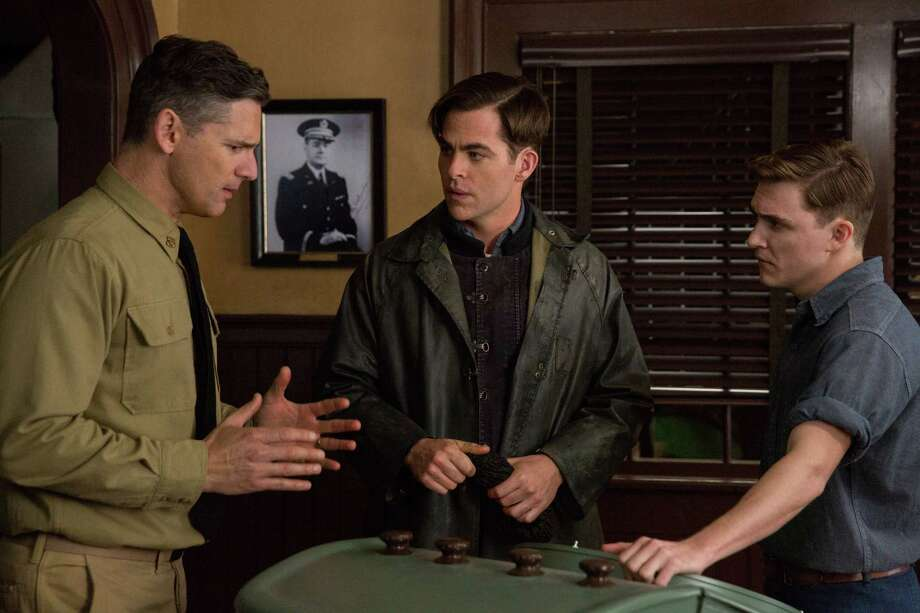 """In this image released by Disney, Eric Bana, from left, Chris PIne and Kyle Gallner appear in a scene from, """"The Finest Hours,"""" a heroic action-thriller based on the true story of the most daring rescue in the history of the Coast Guard. (Claire Folger/Disney via AP) ORG XMIT: NYET111 Photo: Claire Folger / Disney"""