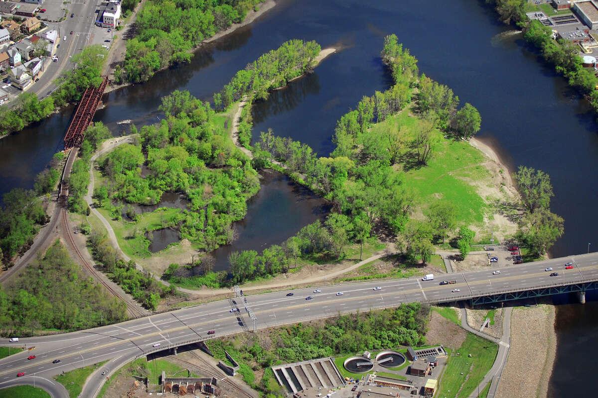 O'Sullivan's Island in Derby, at the confluence of the Naugatuck River (left), and Housatonic River (right). Morgan Kaolian AEROPIX