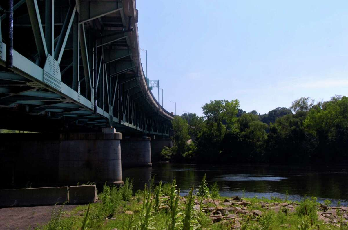 The Commodore Isaac Hull Memorial Bridge is viewed from the Derby side of the Housatonic River.