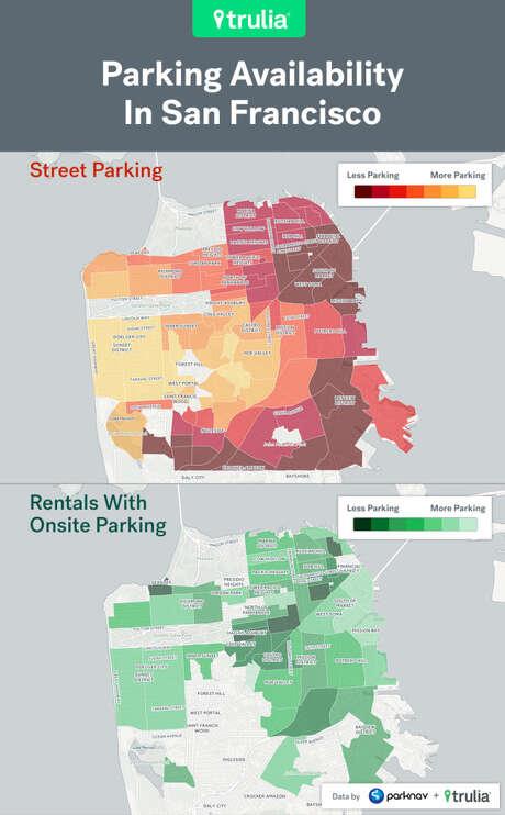 A parking heat map of San Francisco. Photo: Trulia/Parknav