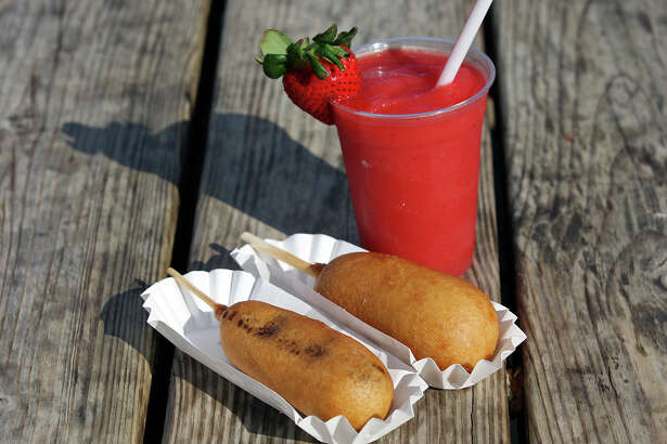 From left: fried Snickers, fried Twinkie and a strawberry smoothie, from the San Antonio Stock Show & Rodeo.
