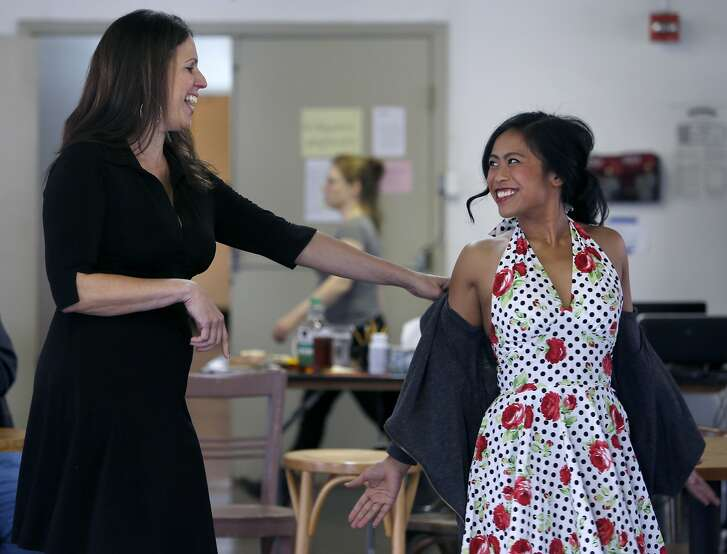 Artistic Director Loretta Greco works with actor Carina Lastimosa Salazar and other cast members during a rehearsal for Dogeaters at the Magic Theatre in San Francisco, Calif. on Thursday, Jan. 28, 2016.