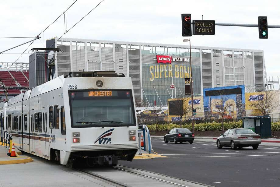A file photo of a VTA Light Rail train. A train hit and killed a cyclist in San Jose on Saturday. Photo: James Tensuan, The Chronicle