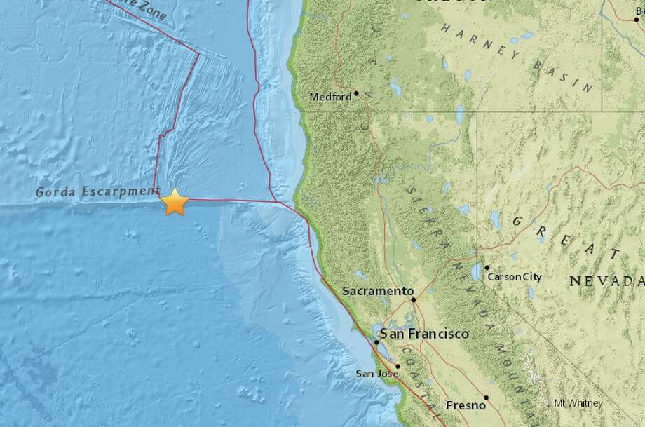 An earthquake with preliminary magnitude of 3.5 struck off the coast of California on Thursday afternoon, according to the USGS. Photo: USGS