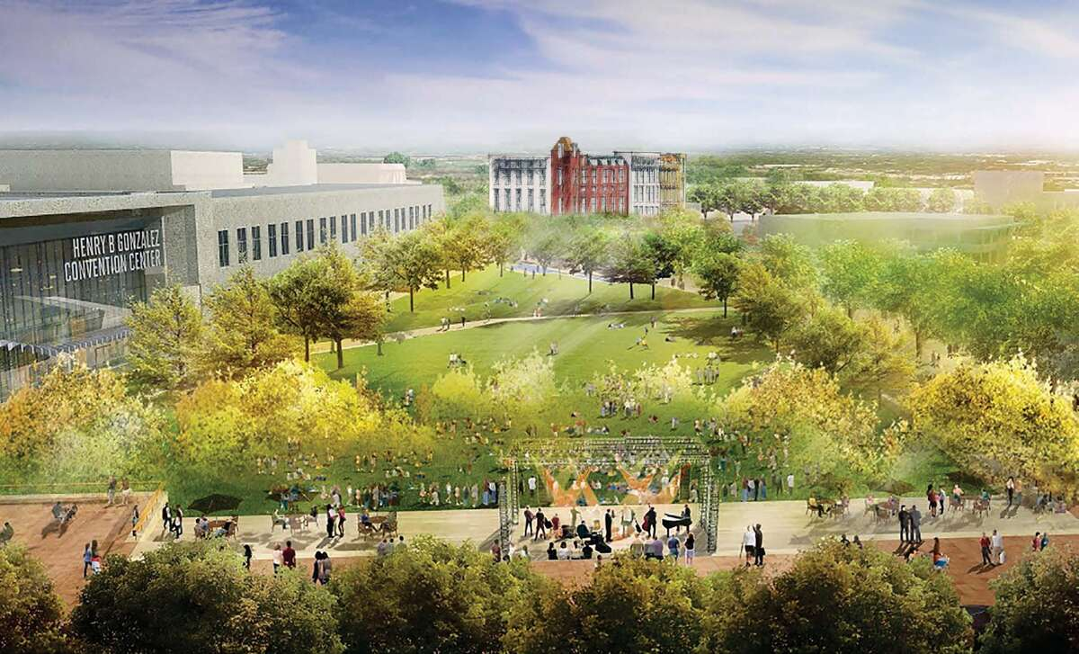 A rendering shows plans to redevelop Hemisfair.