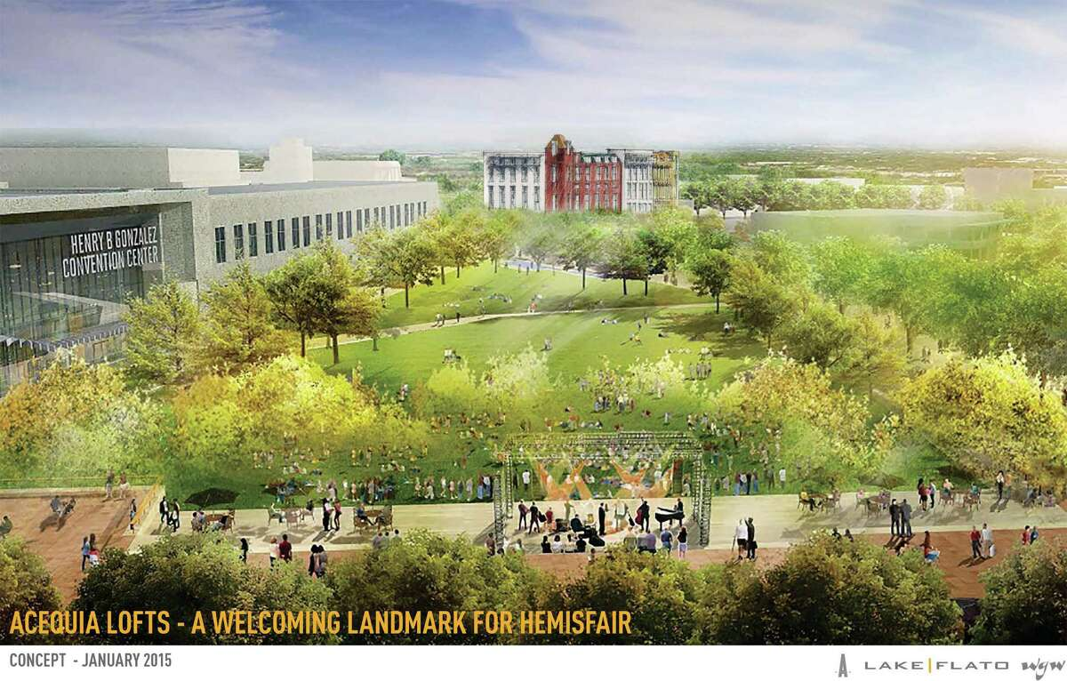 Architectural drawing of the proposed Hemisfair redesign. The new apartments are located in the southwest quadrant of the park, in the upper-right corner of the rendering.