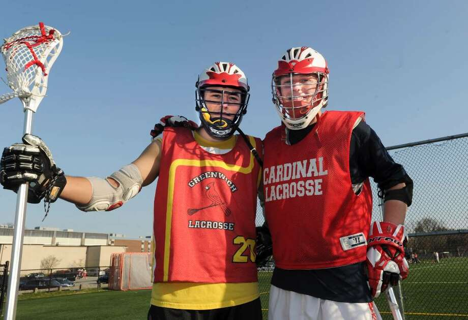 Greenwich High School boys lacrosse captains P.J. Schwabe, left and Colin Dunster on the athletic fields, on Monday, April 05, 2010. Photo: Helen Neafsey / Greenwich Time