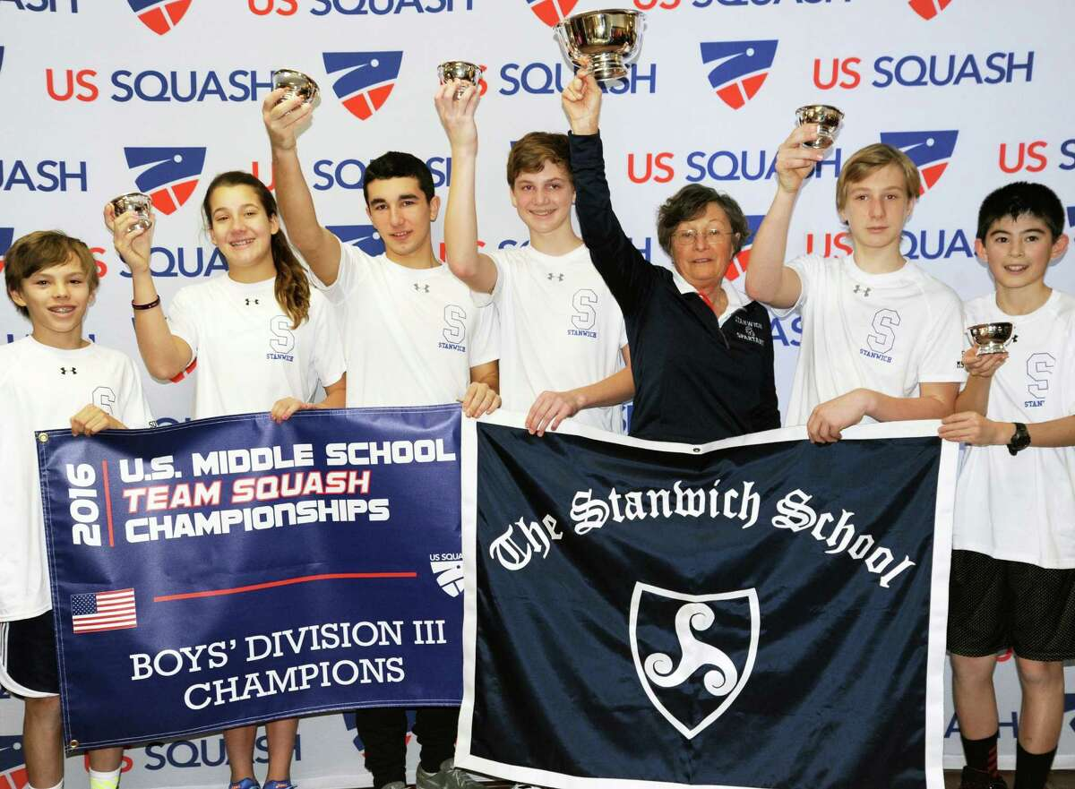 The Stanwich School won the U.S. Squash Middle School Boys Division III Squash title at Yale University this past weekend. Pictured left to right are: Blake Newcomer, Ashley Hatstadt, Cameron Paradiso, Max Orwicz, coach Merilyn Stephens, Nikita Kovalev, and Harrison Azrak.