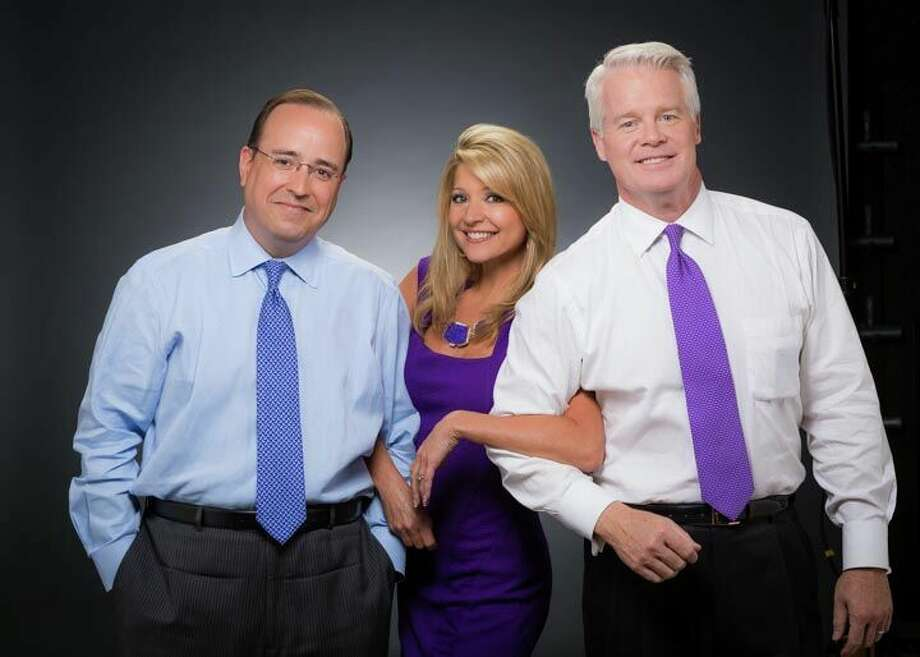 The city's No. 1 morning and noon trio -- KSAT achors Mark Austin and Leslie Mouton, and their  weathercasting pal Mike Osterhage -- will host Friday's Battle of Flowers Parade. Photo: Courtesy