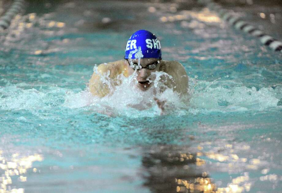 Shaker High School's  Will Matz competes in and wins the 200IM during their swim meet against Shenendehowa on Thursday Jan. 28, 2016 in Latham, N.Y. (Michael P. Farrell/Times Union) Photo: Michael P. Farrell / 10035189A