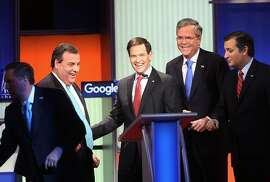 DES MOINES, IA - JANUARY 28:  Republican presidential candidates (L-R) New Jersey Governor Chris Christie, Sen. Marco Rubio (R-FL), Jeb Bush and Sen. Ted Cruz (R-TX) after the Fox News - Google GOP Debate January 28, 2016 at the Iowa Events Center in Des Moines, Iowa. Residents of Iowa will vote for the Republican nominee at the caucuses on February 1. Donald Trump, who is leading most polls in the state, decided not to participate in the debate.  (Photo by Scott Olson/Getty Images)
