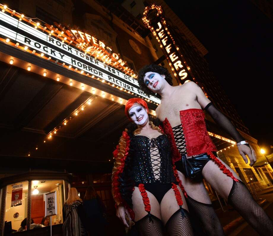 "Krystal and James Williams pose for a photo outside the Jefferson Theater during Rocktoberfest on Thursday night. The first annual Rocktoberfest was held at the Jefferson Theater on Thursday night. The miniature music festival included performances by Stone Cold, Ramblin' Boys, Jenny and the Reincarnation, and We Were Wolves. St. Arnold was on hand to serve up beer and the performances were followed by a showing of ""The Rocky Horror Picture Show"" inside the Jefferson.