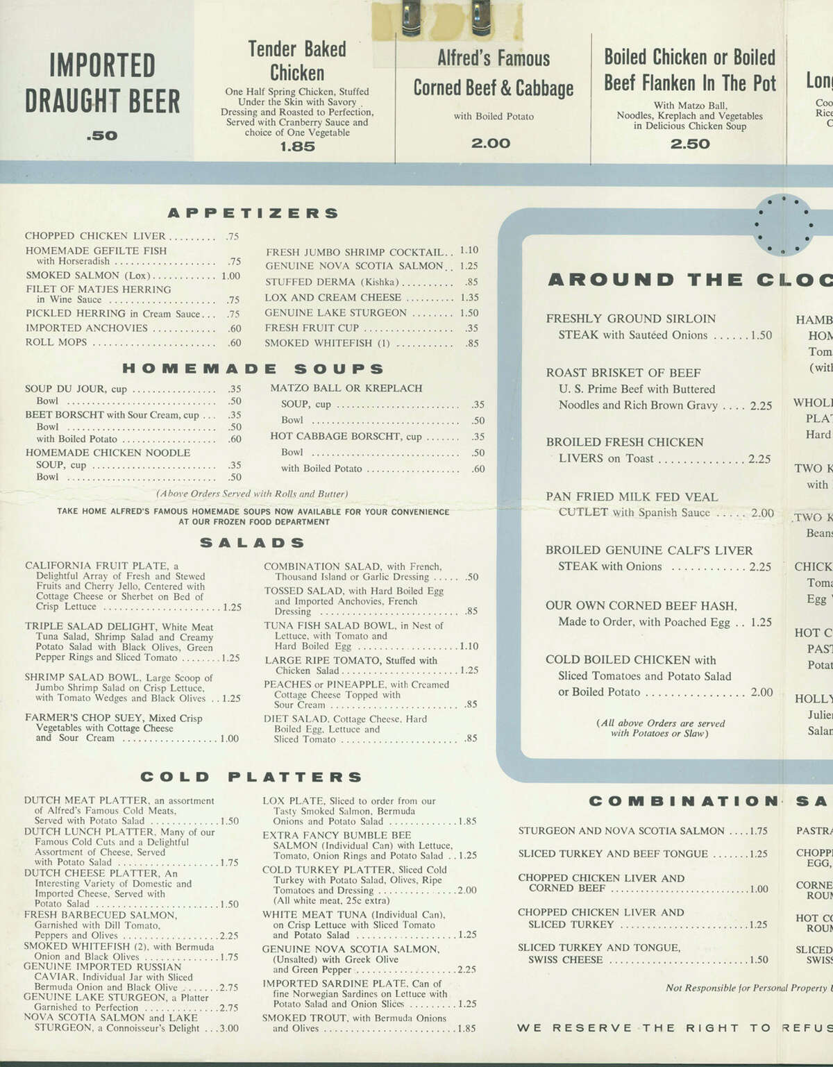 This was one half of a sprawling menu seen by customers at the old Alfred's chain in Houston.  Vintage Houston restaurant menu courtesy University of Houston Conrad N. Hilton College of Hotel and Restaurant Management.