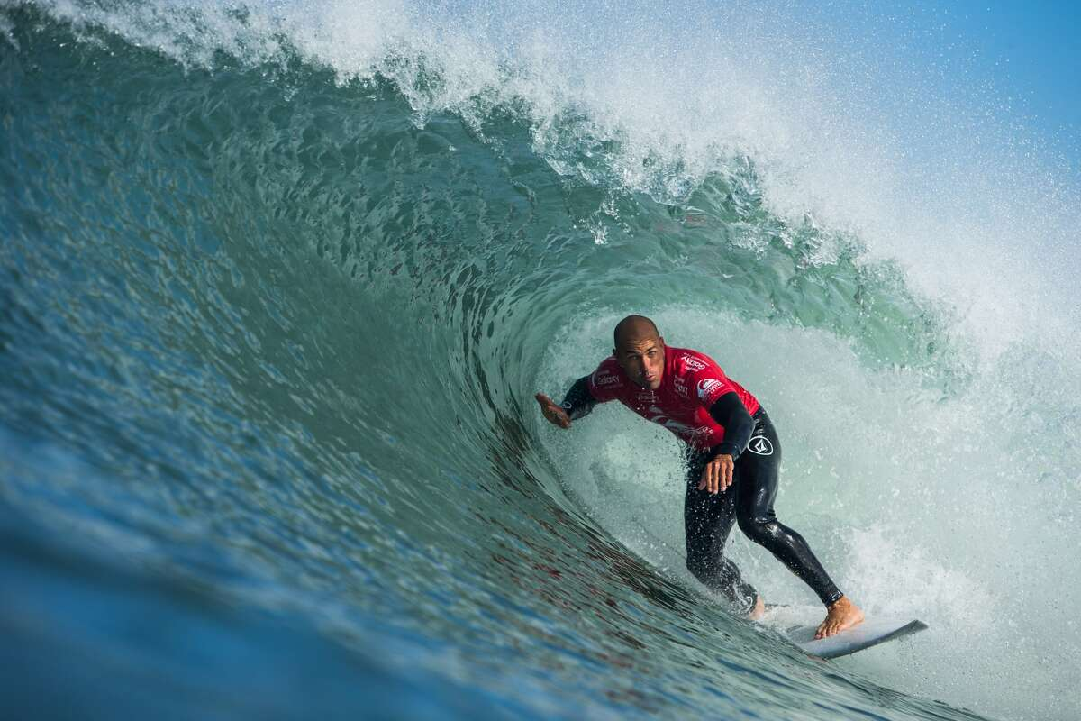 Kelly Slater of the United States surfing during Round 1 of Quiksilver Pro France 2015 on October 8, 2015 in Hossegor, France. (Photo by Damien Poullenot/WSL via Getty Images)